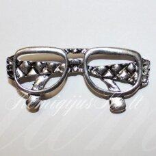 pm0449 apie 28 x 63 mm, sidabrinė spalva, pakabukas, akiniai, 1 vnt.