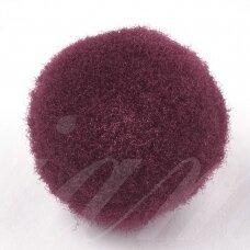 pom0007 apie 25 mm, pom pom, poliesteris, tamsi raudona spalva, 16 vnt.