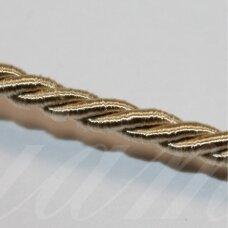 ppvgel0153 apie 3 mm, kreminė spalva, sukta virvutė, 1 m.