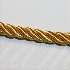 ppvgel0146 apie 5 mm, auksinė spalva, sukta virvutė, 1 m.