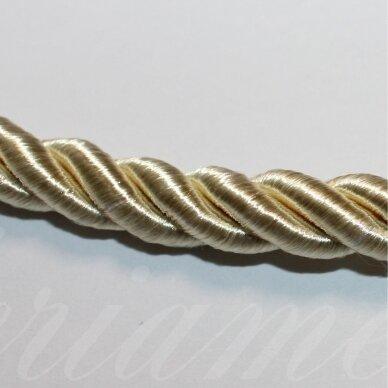 ppvgel0174 apie 8 mm, šviesi, auksinė spalva, sukta virvutė, 1 m.