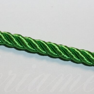 ppvgel0555 apie 5 mm, šviesi, žalia spalva, sukta virvutė, 1 m.