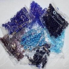 preciosa brand czech beads, round shape, various sizes, blue color, mix, 1 kg.