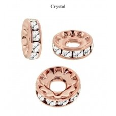 Preciosa Large Hole Rondelle with Chaton MAXIMA 12mm Crystal - padengta rausvu auksu (2 vnt)