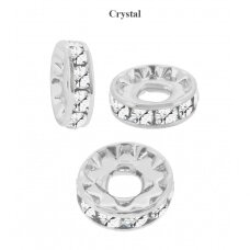 Preciosa Large Hole Rondelle with Chaton MAXIMA 12mm Crystal - padengta sidabru (2 vnt)