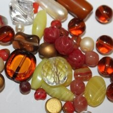 prstk92mix-autumn-mood various sizes, glass bead, mix colors, about 250 g.