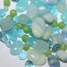 prstk92mix-caribbean various sizes, glass bead, mix colors, about 250 g.