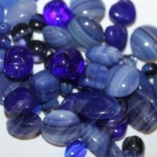 prstk92mix-dark-blue various sizes, glass bead, mix colors, about 250 g.