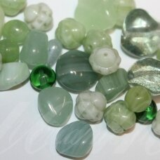 prstk92mix-jade various sizes, glass bead, mix colors, about 250 g.