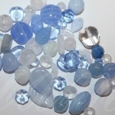 prstk92mix-light-blue various sizes, glass bead, mix colors, about 250 g.