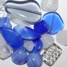 prstk92mix-multi-exclusive-blue-crystal various sizes, glass bead, mix colors, about 250 g.