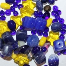 prstk92mix-star-sky various sizes, glass bead, mix colors, about 250 g.