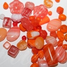 prstk92mix1-orange-1 various sizes, glass bead, mix colors, about 250 g.
