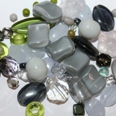 prstk92mix111-matallic-grey various sizes, glass bead, mix colors, about 250 g.