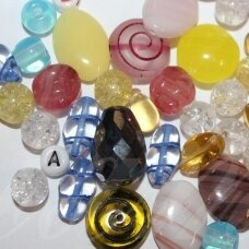 prstk92mix111-multi-special various sizes, glass bead, mix colors, about 250 g.