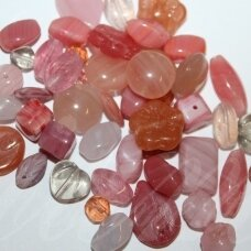 prstk92mix14-dusty-rose various sizes, glass bead, mix colors, about 250 g.