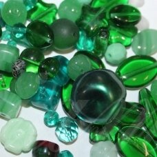 prstk92mix24-emerald various sizes, glass bead, mix colors, about 250 g.