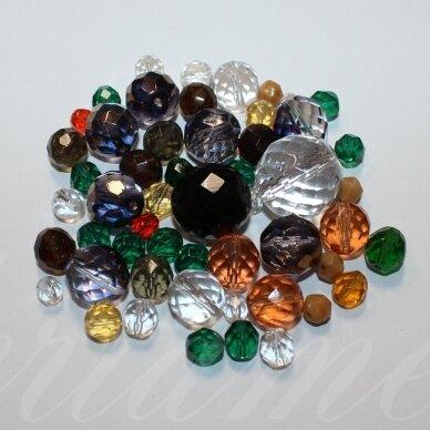 prstk92mix151 įvairių dydžių, stiklinis karoliukas, mix spalva, apie 250g.