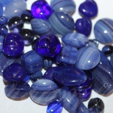 prstk92mix-dark-blue įvairių dydžių, stiklinis karoliukas, mix spalva, apie 250g.