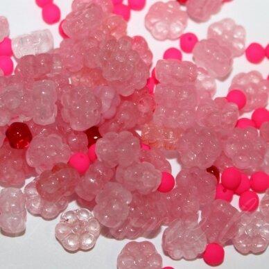 prstk92mix-flower3-pink/red įvairių dydžių, stiklinis karoliukas, mix spalva, apie 250 g.