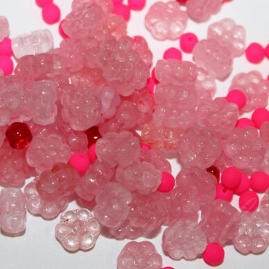 prstk92 mix-flower3-pink/red, įvairių dydžių, stiklinis karoliukas, mix spalva, apie 250 g.