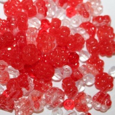 prstk92mix-flower6-red įvairių dydžių, stiklinis karoliukas, mix spalva, apie 250g.