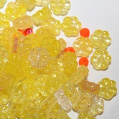 prstk92 mix-flower8-yellow/orange, įvairių dydžių, stiklinis karoliukas, mix spalva, apie 250 g.