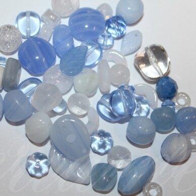prstk92 mix-light-blue, įvairių dydžių, stiklinis karoliukas, mix spalva, apie 250 g.