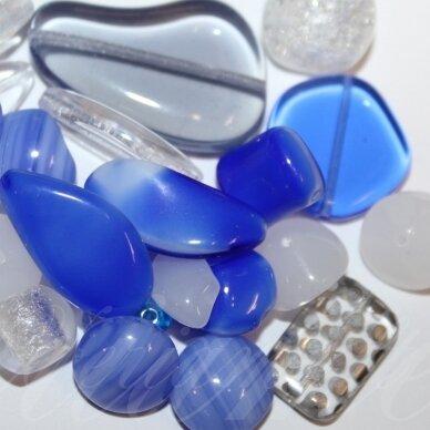 prstk92mix-multi-exclusive-blue-crystal įvairių dydžių, stiklinis karoliukas, mix spalva, apie 250g.