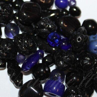 PRSTK92MIX-NIGHT-BLUE įvairių dydžių, stiklinis karoliukas, MIX spalva, apie 250g.