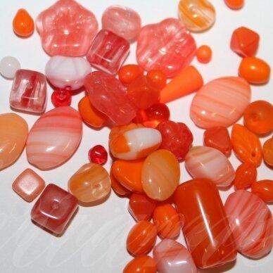 prstk92 mix1-orange-1, įvairių dydžių, stiklinis karoliukas, mix spalva, apie 250 g.