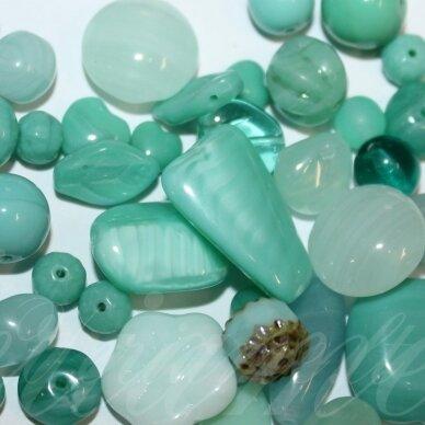 prstk92mix11-sea-green įvairių dydžių, stiklinis karoliukas, mix spalva, apie 250g.