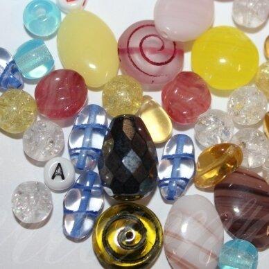 prstk92 mix111-multi-special, įvairių dydžių, stiklinis karoliukas, mix spalva, apie 250 g.