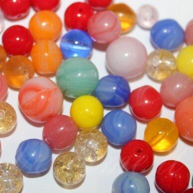 prstk92 mix111-round-beads-multi, įvairių dydžių, stiklinis karoliukas, mix spalva, apie 250 g.