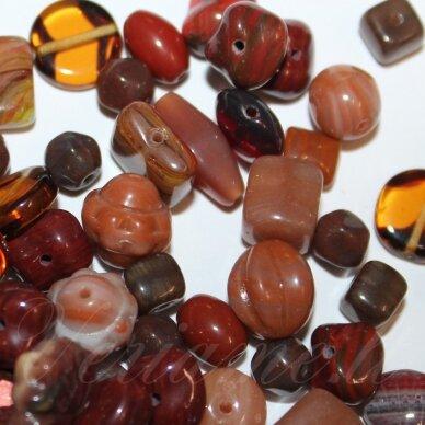 prstk92 mix20-matallic-brown, įvairių dydžių, stiklinis karoliukas, mix spalva, apie 250 g.