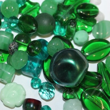 prstk92 mix24-emerald, įvairių dydžių, stiklinis karoliukas, mix spalva, apie 250 g.