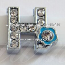 r0016 about 13 x 12 x 5 mm, letter h, transparent eyes, colored flower, 1 pc.