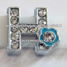 R0016 apie 13 x 12 x 5 mm, raidė H, akutės skaidri spalva, spalvuota gėlytė, 1 vnt.