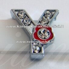 r0020 about 12 x 12 x 5 mm, y letter, transparent eyes, colored flower, 1 pc.