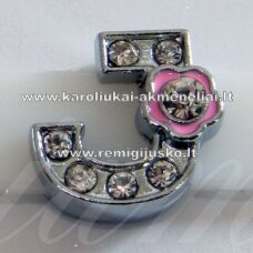 r0022 about 12 x 13 x 5 mm, letter j, transparent eyes, colored flower, 1 pc.
