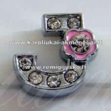R0022 apie 12 x 13 x 5 mm, raidė J, akutės skaidri spalva, spalvuota gėlytė, 1 vnt.