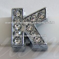 r0023 about 12 x 12 x 5 mm, letter k, transparent eyes, 1 pc.