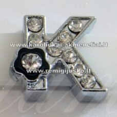 r0024 about 12 x 13 x 5 mm, letter k, transparent eyes, colored flower, 1 pc.