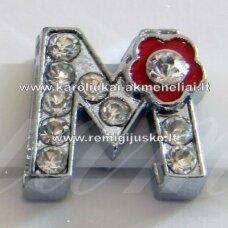 R0028 apie 12 x 13 x 5 mm, raidė M, akutės skaidri spalva, spalvuota gėlytė, 1 vnt.