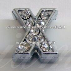 R0041 apie 12 x 11 x 5 mm, raidė X, akutės skaidri spalva, 1 vnt.