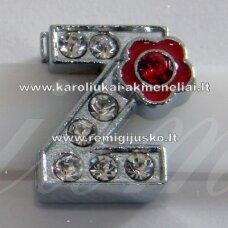 R0048 apie 12 x 11 x 5 mm, raidė Z, akutės skaidri spalva, spalvuota gėlytė, 1 vnt.