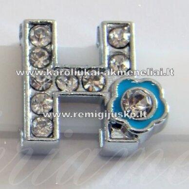 r0016 apie 13 x 12 x 5 mm, raidė h, akutės skaidrus, spalvuota gėlytė, 1 vnt.