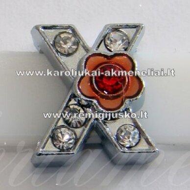 r0042 apie 12 x 11 x 5 mm, raidė x, akutės skaidri spalva, spalvuota gėlytė, 1 vnt.