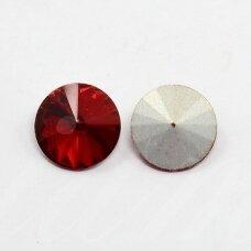 riv0008k-disk-12 apie 12 mm, disko forma, skaidrus, raudona spalva, 6 vnt.