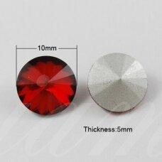 riv0008k-disk-10 apie 10 mm, disko forma, skaidrus, raudona spalva, 8 vnt.